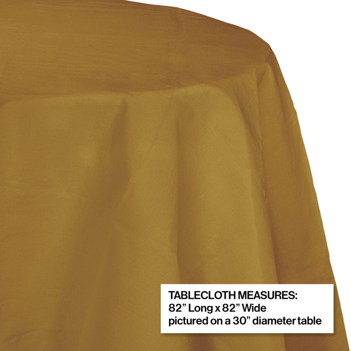 "Creative Converting 82"" Glittering Gold OctyRound Disposable Plastic Table Cover - 12/Case"