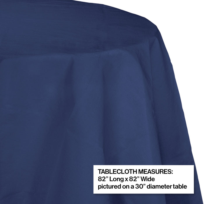 "Creative Converting 82"" Navy OctyRound Disposable Plastic Table Cover - 12/Case"
