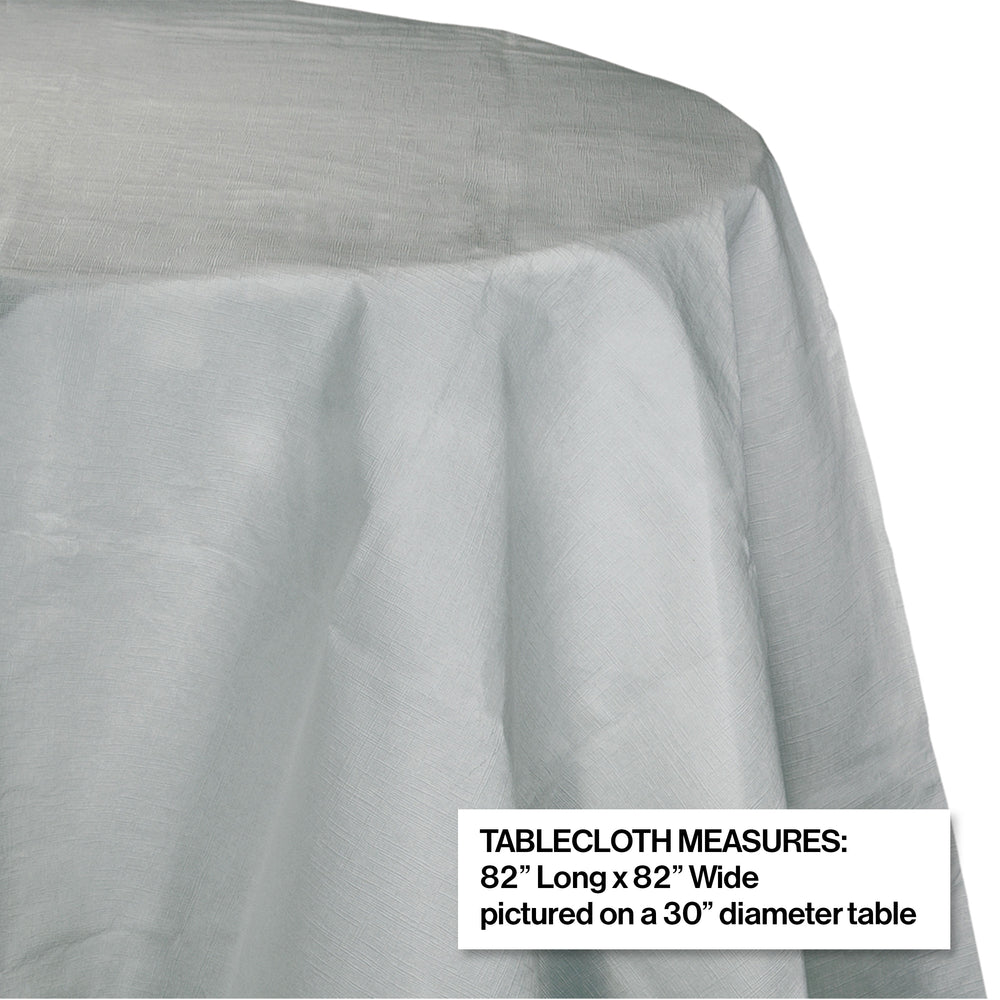 "Creative Converting 82"" Shimmering Silver OctyRound Disposable Plastic Table Cover - 12/Case"