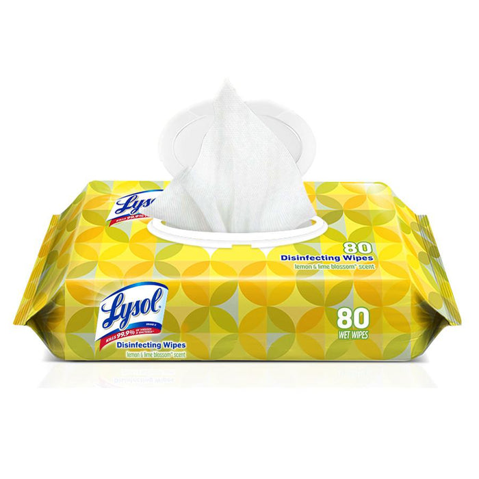 LYSOL DISINFECTING WIPES - LEMON SCENT - 80 WIPES (FLAT PACKS) 6 PER CASE