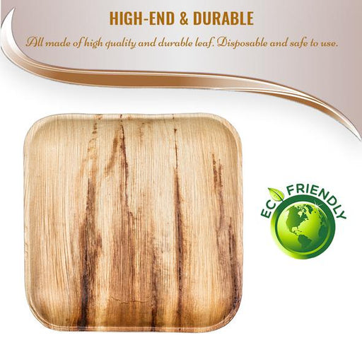 "7"" Square Palm Leaf Eco Friendly Disposable Appetizer/Salad Plates (100/CS)"