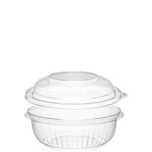 Dart PET12BCD PresentaBowls 12 oz. Clear Plastic Bowl with Dome Lid (252/CS) - Paper Supplies Plus