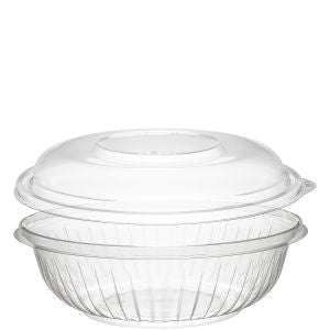 Dart PET24BCD PresentaBowls 24 oz. Clear Plastic Bowl with Dome Lid - Paper Supplies Plus