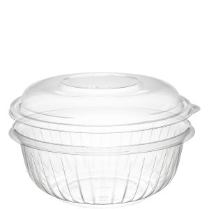 Dart C32BCD PresentaBowls 32 oz. Clear Plastic Bowl with Dome Lid - Paper Supplies Plus