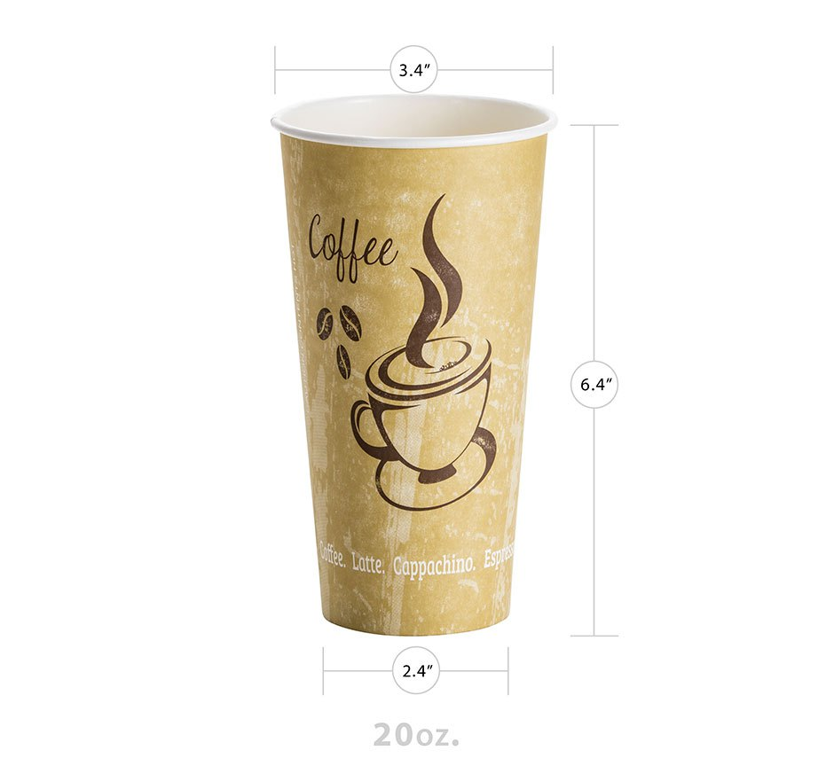 20oz Paper Hot Cup (Classic Design) (500/CS) - Paper Supplies Plus