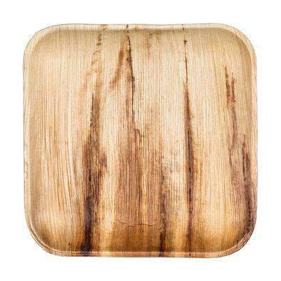 "9"" Square Palm Leaf Eco Friendly Disposable Buffet Plates (100/CS)"