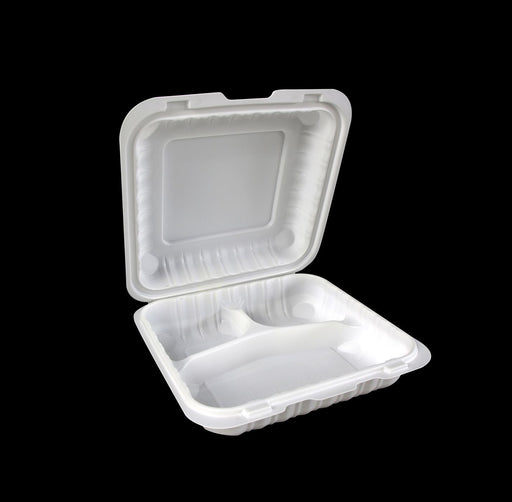 "8"" X 8"" 3 Comp Mineral-Filled Polypropylene Hinged Container (150/CS)"
