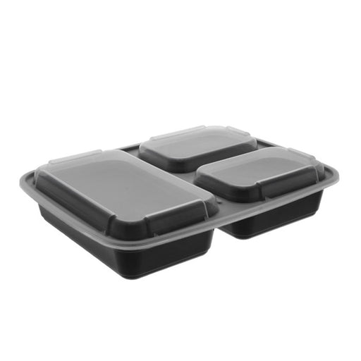 Pactiv NC333B 32 oz. Microwaveable Rectangle 3- Compartment Takeout Container and Lid Combo, Black Base/Clear Lid, 150 ct. - Paper Supplies Plus