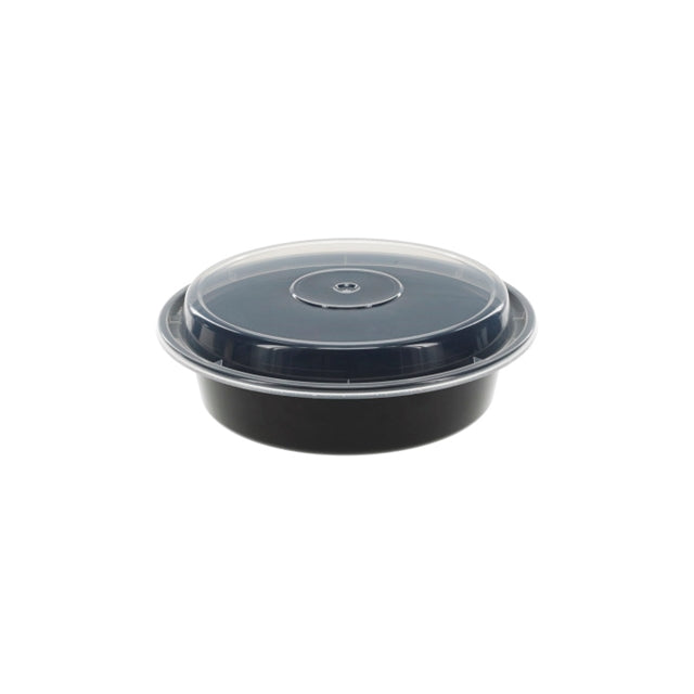 Pactiv NC723B 24 oz. Microwaveable Round Takeout Container and Lid Combo, Black Base/Clear Lid, 150 ct. - Paper Supplies Plus
