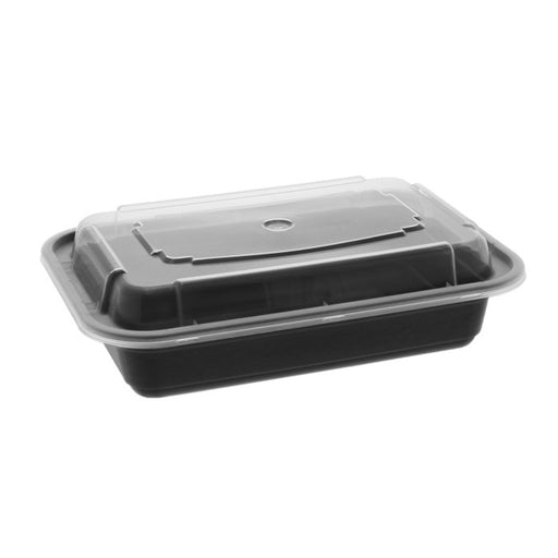 Pactiv NC8168B 16 oz. Microwaveable Rectangle Takeout Container and Lid Combo, Black Base/Clear Lid, 150 ct. - Paper Supplies Plus