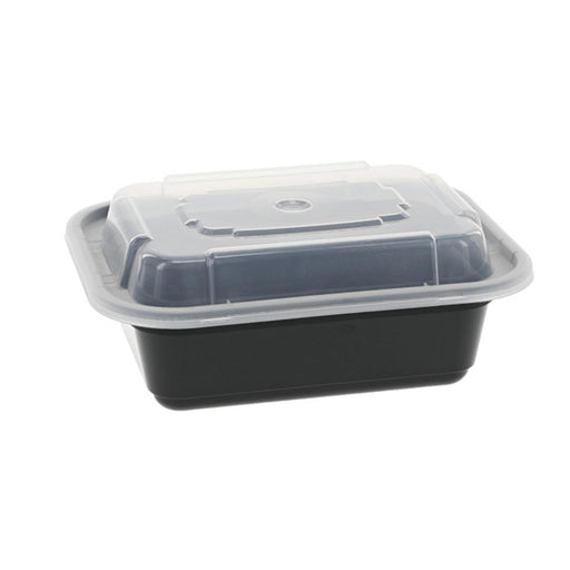 Pactiv NC818B 12 oz. Microwaveable Rectangle Takeout Container and Lid Combo, Black Base/Clear Lid, 150 ct. - Paper Supplies Plus