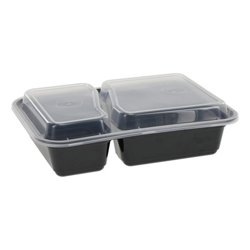 Pactiv NC8288B 30 oz. Microwaveable Rectangle 2- Compartment Takeout Container and Lid Combo, Black Base/Clear Lid, 150 ct. - Paper Supplies Plus