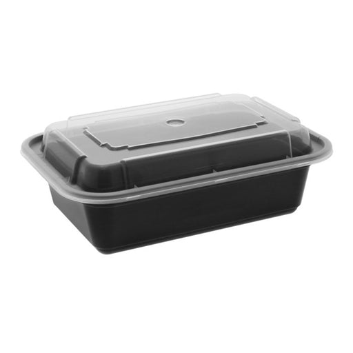 Pactiv NC838B 24 oz. Microwaveable Rectangle Takeout Container and Lid Combo, Black Base/Clear Lid, 150 ct. - Paper Supplies Plus