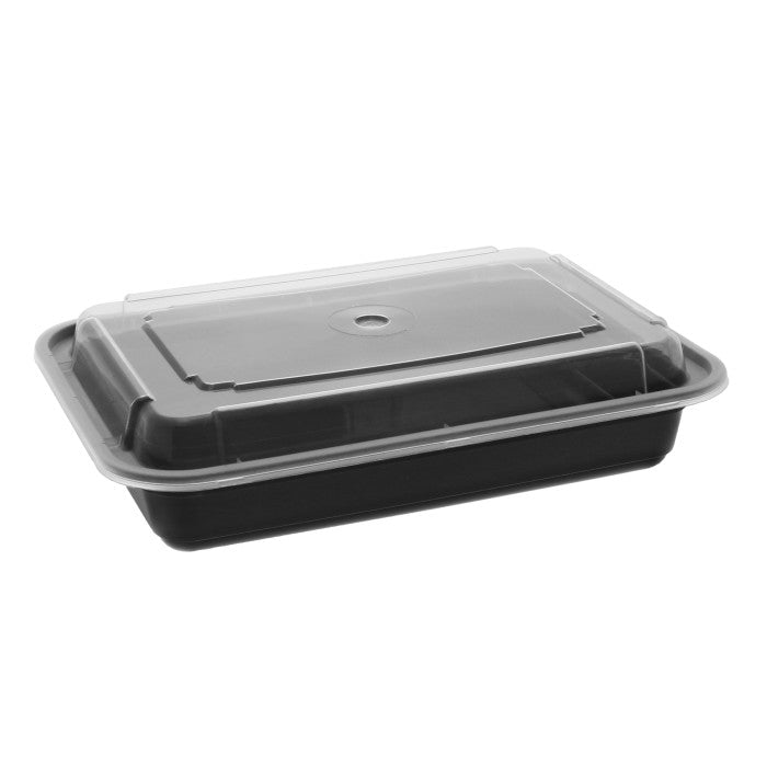 Pactiv NC868B 28 oz. Microwaveable Rectangle Takeout Container and Lid Combo, Black Base/Clear Lid, 150 ct. - Paper Supplies Plus