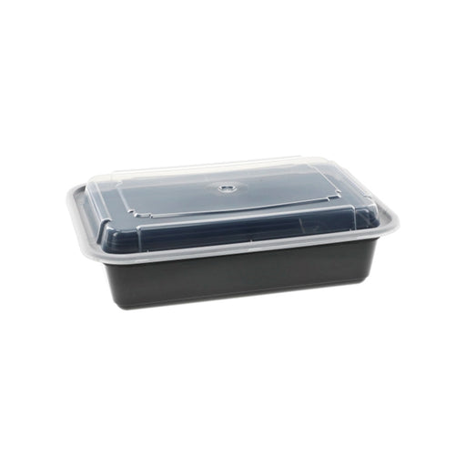 Pactiv NC888B 38 oz. Microwaveable Rectangle Takeout Container and Lid Combo, Black Base/Clear Lid, 150 ct. - Paper Supplies Plus