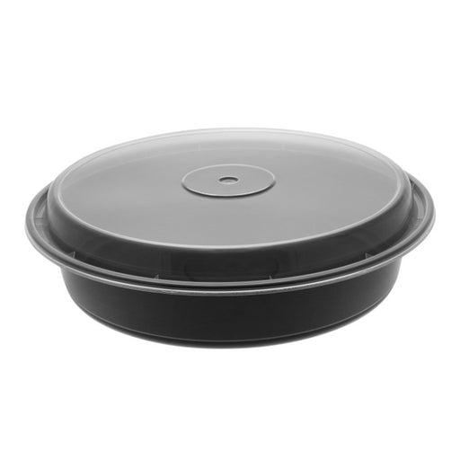 Pactiv NC948B 48 oz. Microwaveable Round Takeout Container and Lid Combo, Black Base/Clear Lid, 150 ct. - Paper Supplies Plus