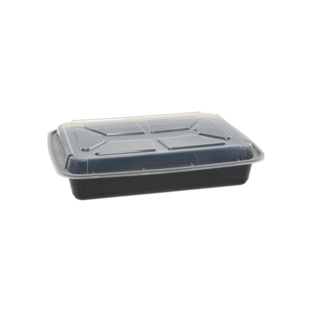 Pactiv NC989B 58 oz. Microwaveable Rectangle Takeout Container and Lid Combo, Black Base/Clear Lid, 150 ct. - Paper Supplies Plus
