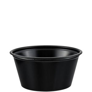 Dart 2 oz Plastic Soufflé Cup - Black (2,500/CS) - Paper Supplies Plus