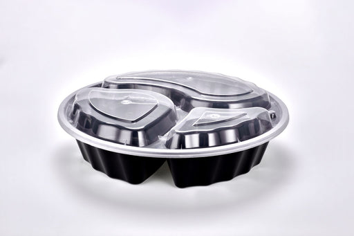 "Sunrise Brands FT-398B - Ripple 9"" Round 32oz 3 Comp. Container and Lid Combo, Black Base/Clear Lid, 150 ct."