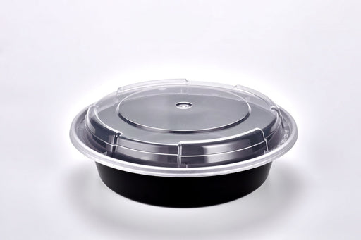 Sunrise Brands SR-723B - 7in Round 24oz. Microwaveable Round Container and Lid Combo, Black Base/Clear Lid, 150 ct.