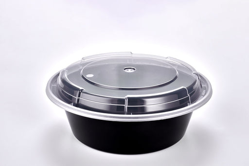 Sunrise Brands SR-729B-L - 7in Round 32oz. Microwaveable Round Container and Lid Combo, Black Base/Clear Lid, 150 ct.