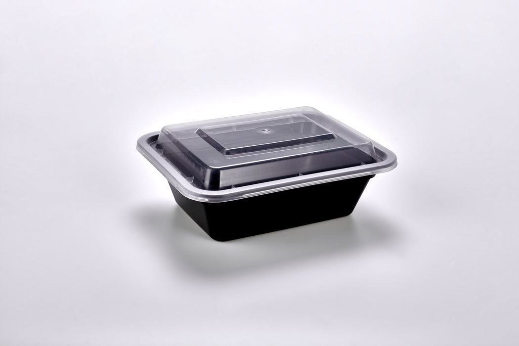 Sunrise Brands SR-818B - 12 oz. Microwaveable Rectangular Container and Lid Combo, Black Base/Clear Lid, 150 ct.