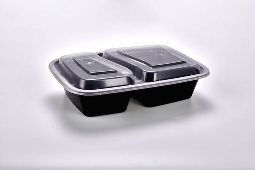 Sunrise Brands SR-8288B 30 oz. Microwaveable Rectangle 2- Compartment Takeout Container and Lid Combo, Black Base/Clear Lid, 150 ct.