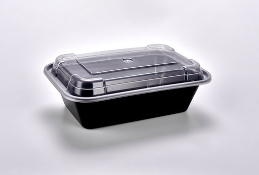 Sunrise Brands SR-838B - 24 oz. Microwaveable Rectangular Container and Lid Combo, Black Base/Clear Lid, 150 ct.