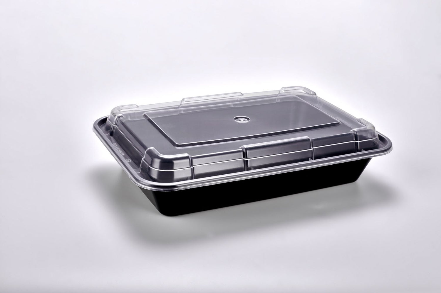 Sunrise Brands SR-868B - 28 oz. Microwaveable Rectangular Container and Lid Combo, Black Base/Clear Lid, 150 ct.