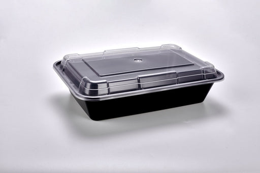 Sunrise Brands SR-888B - 38 oz. Microwaveable Rectangular Container and Lid Combo, Black Base/Clear Lid, 150 ct.