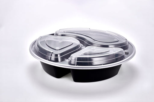 "Sunrise Brands SR-9388B - 9"" Round 38oz 3 Comp. Container and Lid Combo, Black Base/Clear Lid, 150 ct."