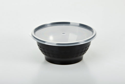 Sunrise Brands SR-08B - 8 oz. Microwaveable Round Bowl and Lid Combo, Black Base/Clear Lid, 240 ct.