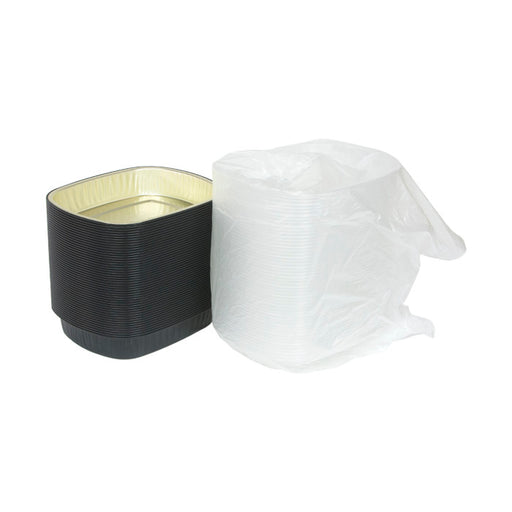 Pactiv Y6710-Aluminum Carry-Out Container, Black and Gold Base with Clear Dome, 50 ct.