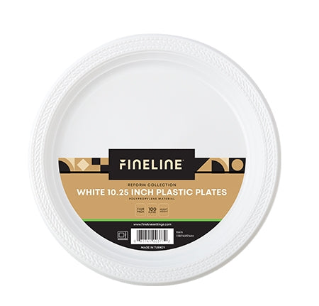 10.25'' ROUND WHITE PLASTIC PLATE, POLYPROPYLENE (400 PER CASE)