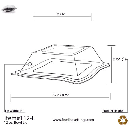 Dome Lid for the 12oz Wave-trends Square Plate (120/CS)