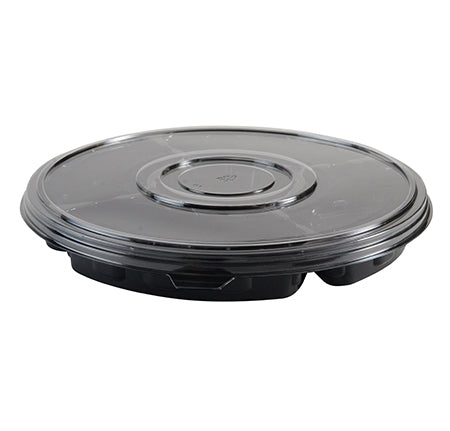 "13"" Round 5 Section Deep Tray with Flat PETE Lid (50 Sets Per Case)"
