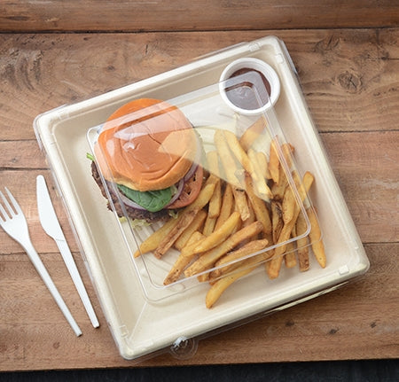 "C-Vented Lid For 10.25"" Compostable Square Tray - 1.2"" (200/Case)"