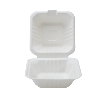 "6"" X 6"" X 3.1"" COMPOSTABLE HINGED CONTAINER (500/CS) - Paper Supplies Plus"