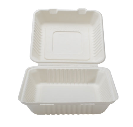 "9"" X 9"" X 3.1"" COMPOSTABLE HINGED CONTAINER - DEEP (200/CS) - Paper Supplies Plus"
