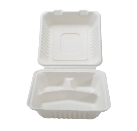 "9"" X 9"" X 3.1"" -COMPOSTABLE 3 SECTION HINGED CONTAINER - DEEP (200/CS) - Paper Supplies Plus"