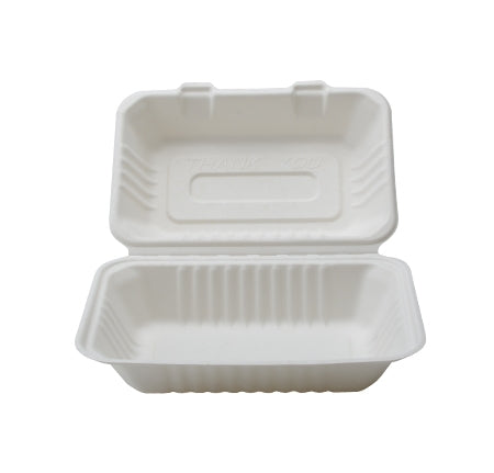 "9"" X 6"" X 3.1"" COMPOSTABLE RECTANGULAR HINGED CONTAINER - DEEP (250/CS) - Paper Supplies Plus"