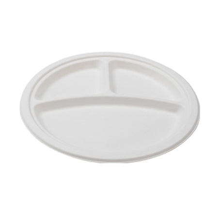 "9"" ROUND COMPOSTABLE PLATE (3-SECTIONAL) 500/CS - Paper Supplies Plus"