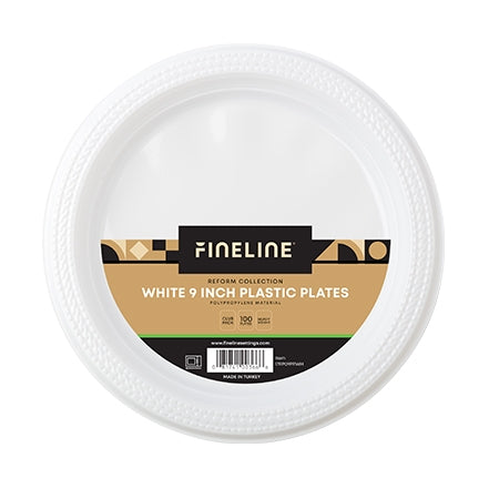 9'' ROUND WHITE PLASTIC PLATE, POLYPROPYLENE (400 PER CASE)