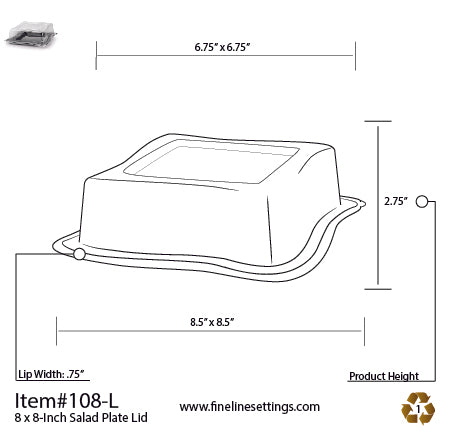 "Dome Lid for the 8"" Wave-trends Square Plate (120/CS)"
