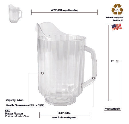 "8"" - 64 OZ. HALF GALLON PITCHER (12/CS) - Paper Supplies Plus"