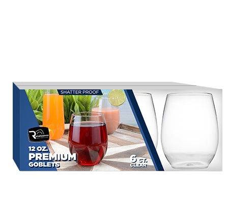 12 oz. Stemless Goblet 48/Case (Available in Clear, Black, & White) - Paper Supplies Plus