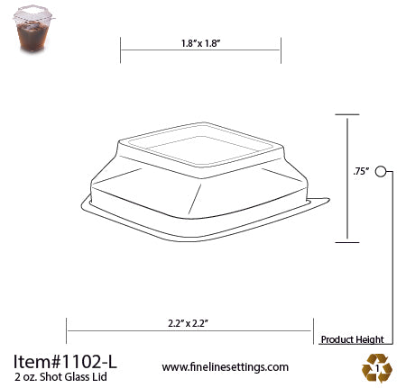 Dome Lid for the 2oz SQUARE SHOT GLASS (1000/CS)