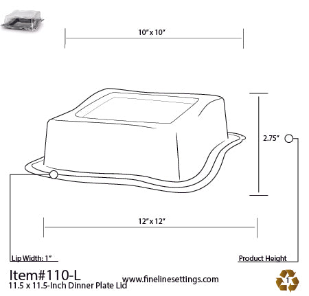 "Dome Lid for the 10.75"" Wave-trends Square Plate (120/CS)"
