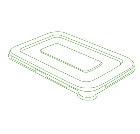 "8.5"" X 5.5"" FLAT LID FOR 24/32 OZ. RECTANGLE BOWLS (300 PER CASE)"