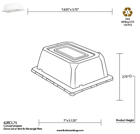 "7.5"" X 5.5"" - DOME LID W/VENT FOR RECTANGULAR PLATE (120/CS)"
